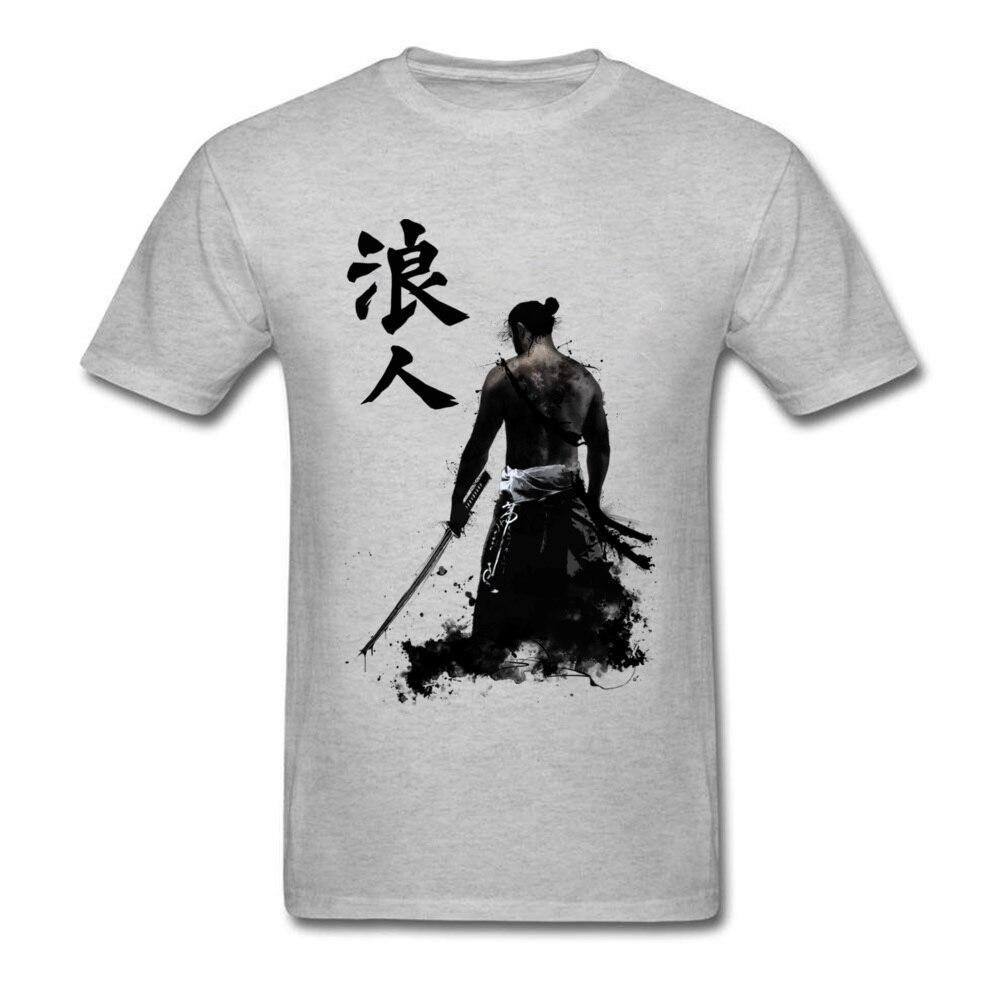 Ronin 3D Printed T-shirts for Men 100% Cotton Summer Tops T Shirt Custom Tee-Shirts Short Sleeve Prevalent Crew Neck Ronin grey