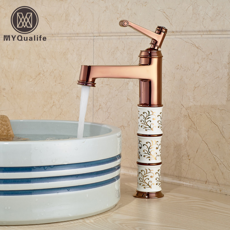 Luxury Rose Golden Bathroom Basin Sink Mixer Taps Deck Mount Brass Sanitary Sink Taps One Hole лаки для ногтей golden rose лак golden rose rich color тон 156