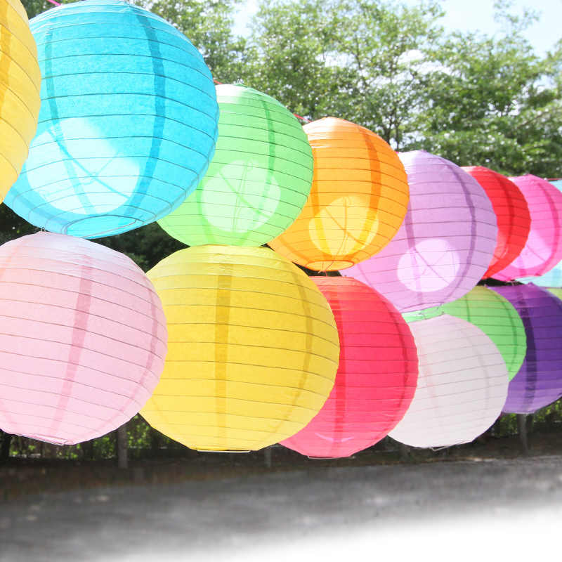 "4"" 6"" 8"" 10"" 12"" 14"" 16"" Chinese Paper Lanterns White Blue Purple Gold Hanging Lampion Wishing Paper Lamp Wedding Decoration"