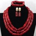 Fabuloso Rojo Coral Perlas de la Boda Africana de Nigeria Joyería Conjunto Joyería Nupcial India Tradicional CNR445 SetFree Envío
