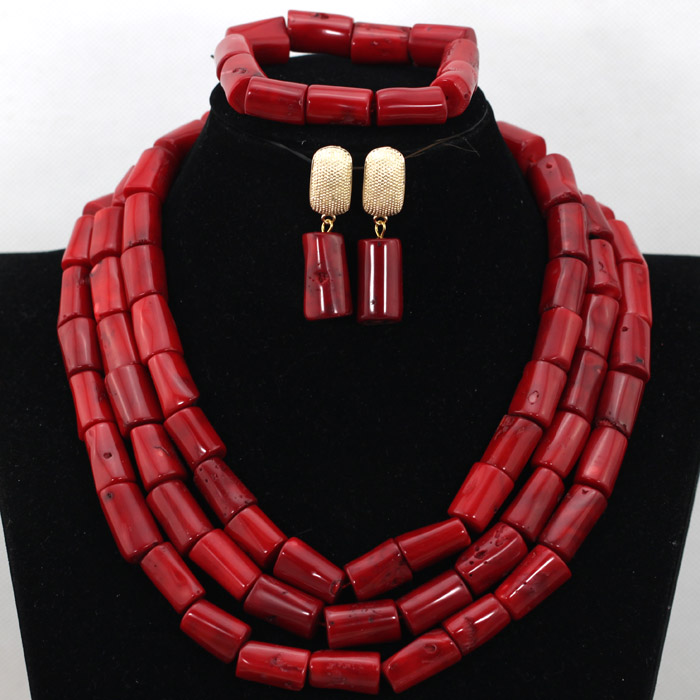 Fabulous Red Nigerian African Wedding Coral Beads Jewelry Set