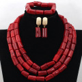 Fabulous Red Nigerian African Wedding Coral Beads Jewelry Set Traditional Indian Bridal Jewelry SetFree Shipping CNR445