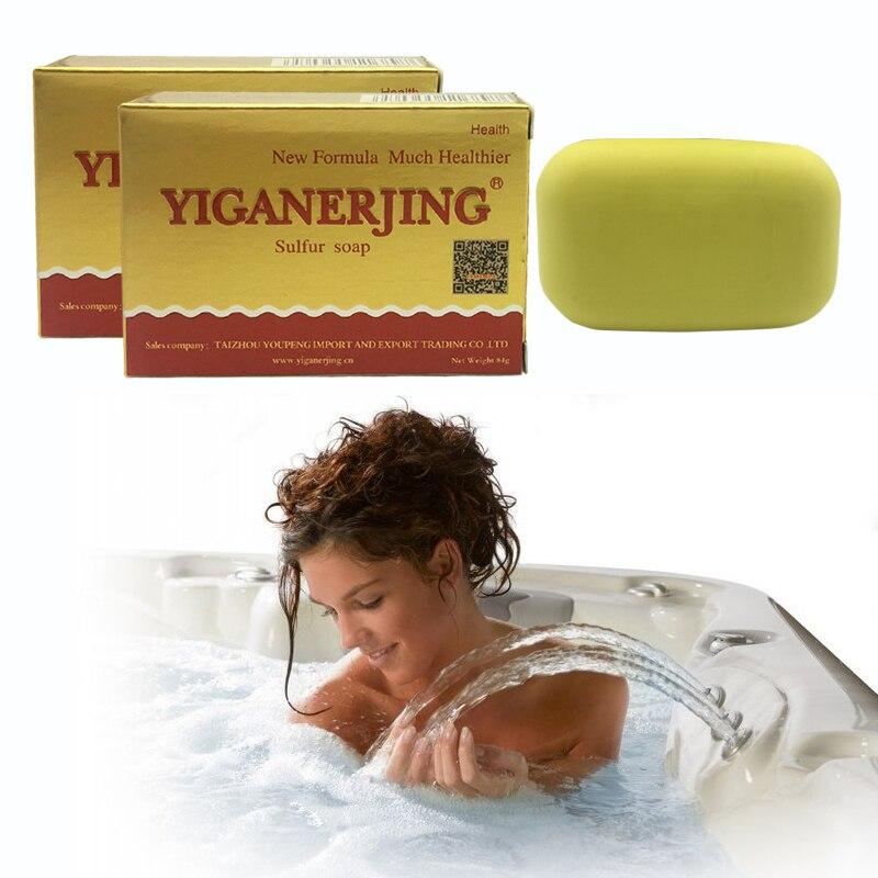 3pcs YiganerjingSulfur Soap Making Skin Whitening Soap For Acne Psoriasis Seborrhea Eczema Anti Fungus Bath Shampoo