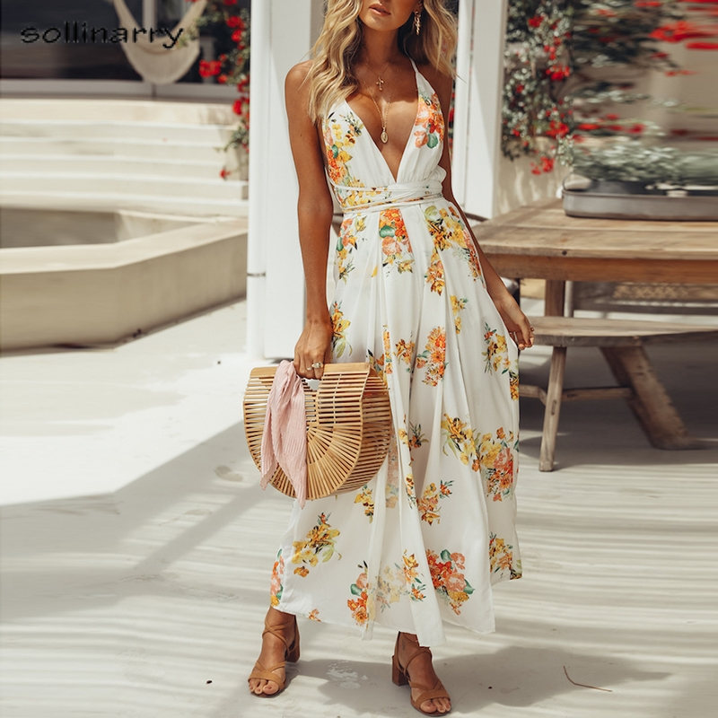 Sollinarry Deep V neck white floral print women jumpsuits Sexy boho beach split jumpsuits Backless 2018 summer jumpsuit Rompers ...