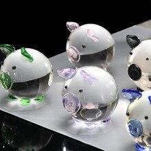 HSU горячая Распродажа разноцветная фигурка Свинки из кристаллов Мини Коллекционная статуя животного семейная Декорация