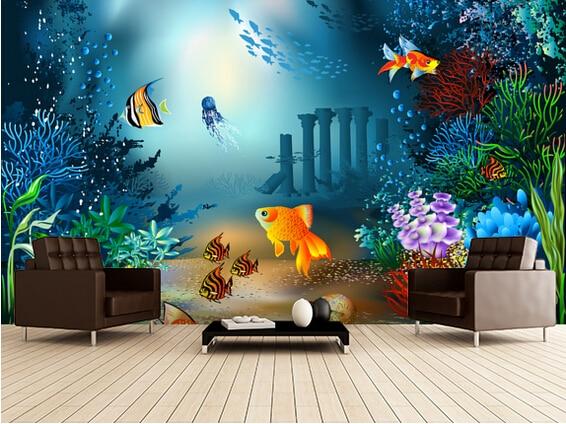Custom kinderen behang onderwater wereld 3d cartoon foto voor