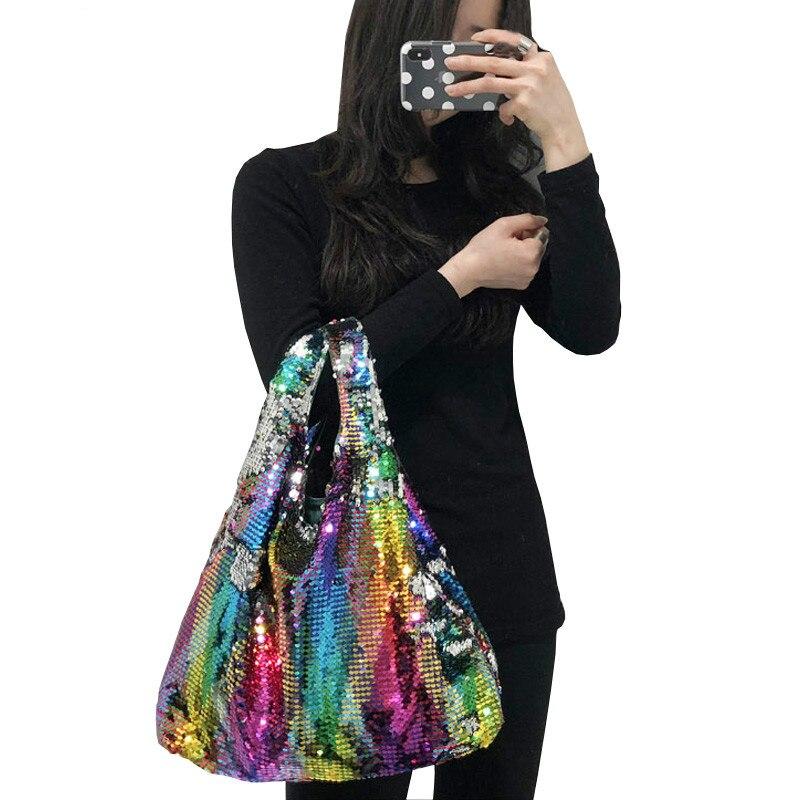 Fashion Bling Bag Female Handbag Hologram Laser Bags for Women Handbags for Girls Reversible Sequin Bag Rainbow Color MermaidFashion Bling Bag Female Handbag Hologram Laser Bags for Women Handbags for Girls Reversible Sequin Bag Rainbow Color Mermaid