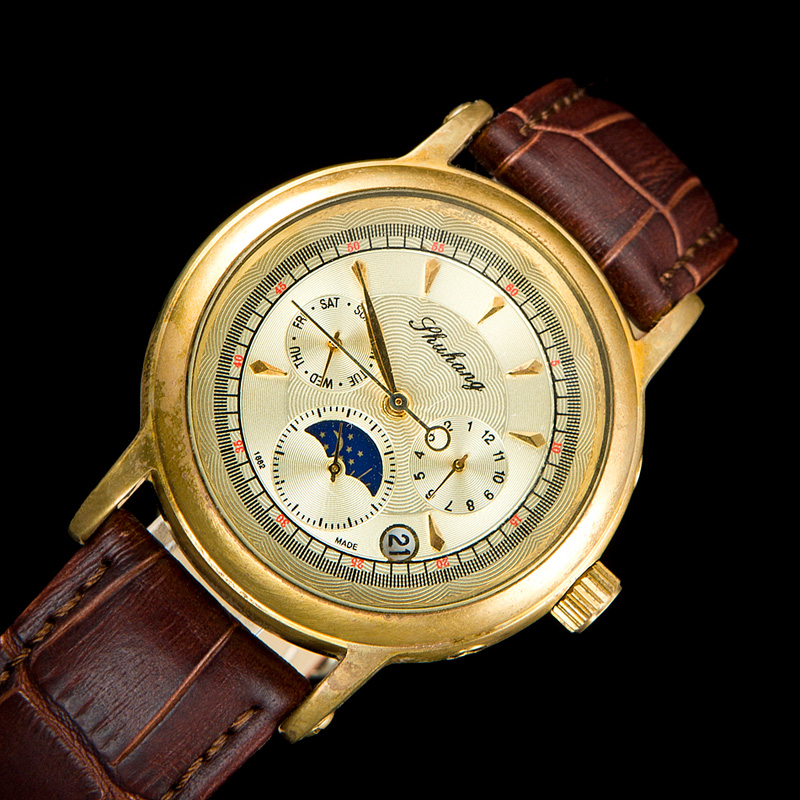 Old Brass 1882 Men Elegant See Through Moon Phase Special Design Of The Pointer Type Antique Automatic Watch Classic Wrist Watch