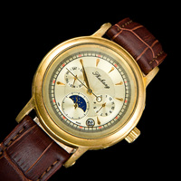 Old Brass Men Elegant See Through Moon Phase Special Design of The Pointer Type Antique Automatic Watch classic Wrist Watches