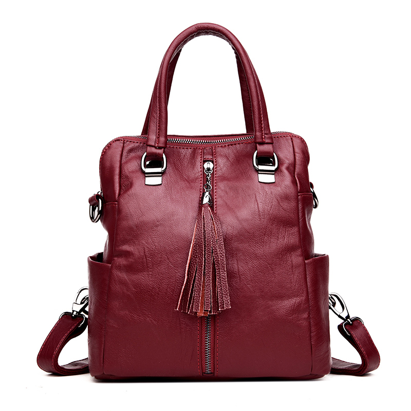 LANYIBAIGE High Quality Leather Multi-pocket Practical Backpack Women Backpack Designer School Bags For Teenagers Girls Sac women leather backpack vintage red school bags for teenagers girls large solid bag designer high quality sac a main backpacks