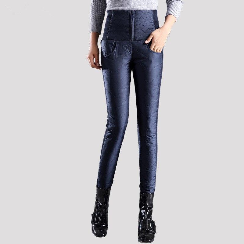 Pantalons d'hiver chauds femmes duvet de canard velours taille haute Skinny chaud pantalon formel élastique Pantalons crayon pantalon de travail grande taille 4xl