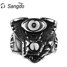 Фотография Sangdo Men Personality creative Stainless Steel Vintage Jewelry Eye of the Devil Modelling Rings For Xmas Birthday Gift ZK20