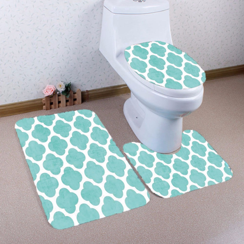 Ouneed 3PCS Fasion Flannel Bathroom Carpet Set Non Slip Pedestal Rug + Lid  Toilet Cover + Bath Mat Set Toilet Mat In Bath Mats From Home U0026 Garden On  ...