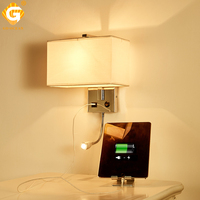 USB LED Wall Lights E27 Indoor Decorative Modern Cube Bedside Lamp Wall Mounted Light Bedroom Bathroom Lighting Sconce Lighting