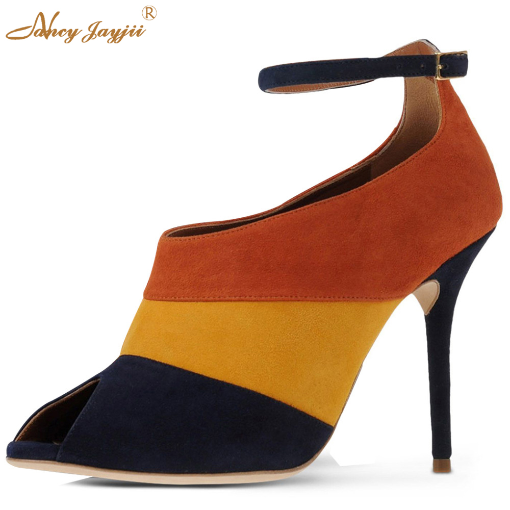 Shoes Woman Lady Black Suede Patch Color Sexy Peep Toe Thin Ankle Strap beige Bottoms High Heels Pumps big size 5-14 Career