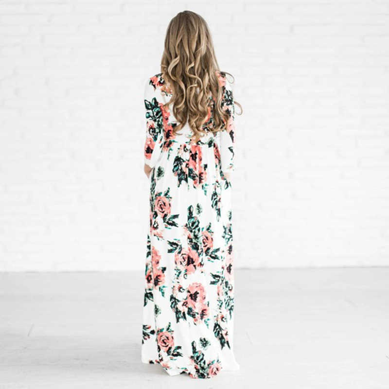 Осеннее платье женское платье с принтом розы длинное платье с круглым вырезом Макси платье плюс размер элегантное Бандажное облегающее для вечеринки Vestidos женские длинные