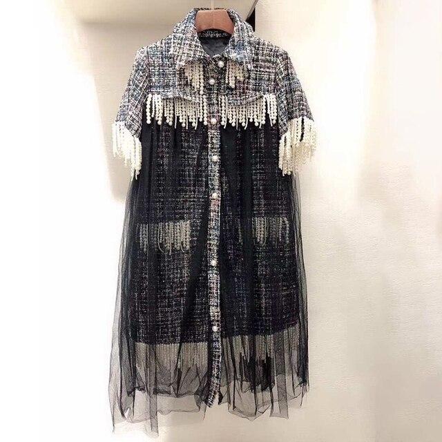 Luxury Brand Dress Women 2019 Plaid Dress Women Winter Autumn Fashion Beading Dress Winter A-line Patchwork Dress Casual