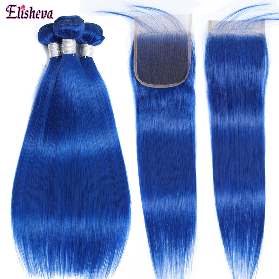 Elisheva Blue Bundles with Closure Ombre Malaysia Remy Straight Human Hair Weave 3 Bundles with 1