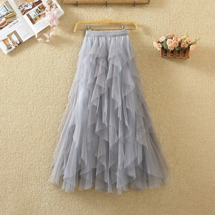 Women irregular Tulle Skirts Fashion Elastic High Waist Mesh Tutu Skirt Pleated Long Skirts Midi Skirt Saias Faldas Jupe Femmle 55