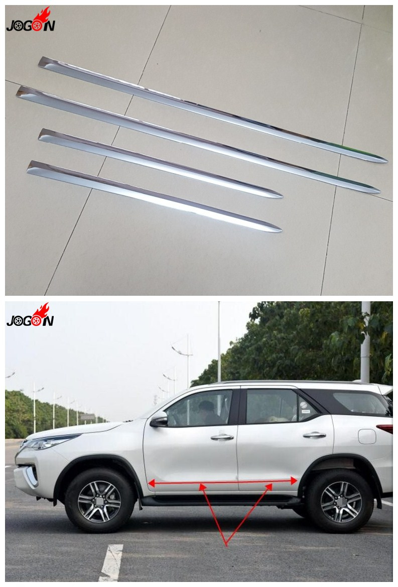 4pcs/set Stainless Steel Side Door Body Molding Protector Plate Trim For Toyota Fortuner 2016 2017 Car Styling