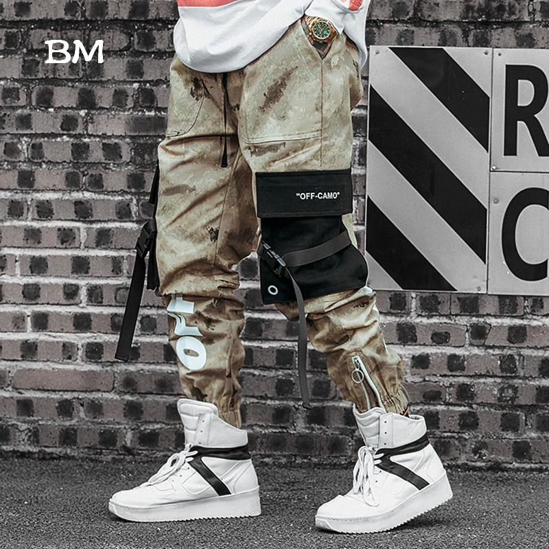 2019 Techwear Khaki Camouflage Pants Streetwear Joggers Men Hip Hop Cargo Tactical Pants Korean Style Military Trousers