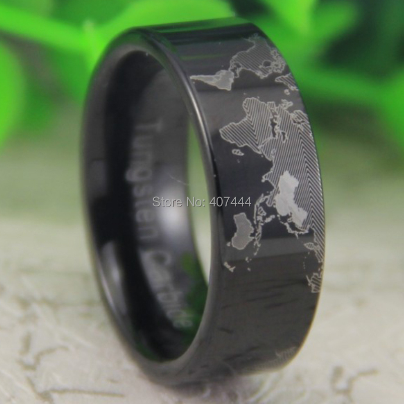 Free shipping usa uk canada russia brazil hot sales 8mm black pipe free shipping usa uk canada russia brazil hot sales 8mm black pipe unique world map design new mens new tungsten wedding ring in rings from jewelry gumiabroncs Image collections