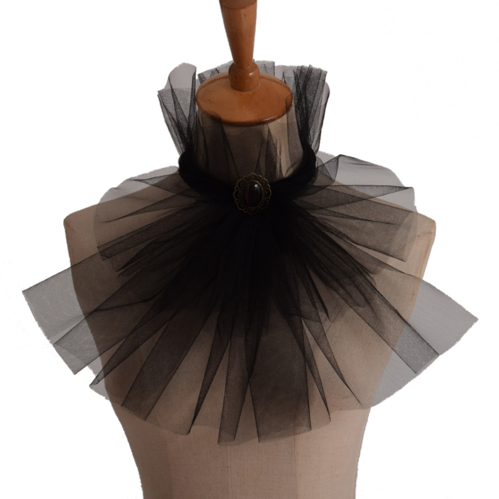Men's Victorian Collar Jabot Vintage Black Detachable Collar Medieval Steampunk Lace Cravat