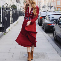 Ordifree 2018 Summer Boho Women Maxi Dress Red Flower Embroidered Vintage Floral Embroidery Long Tunic Beach