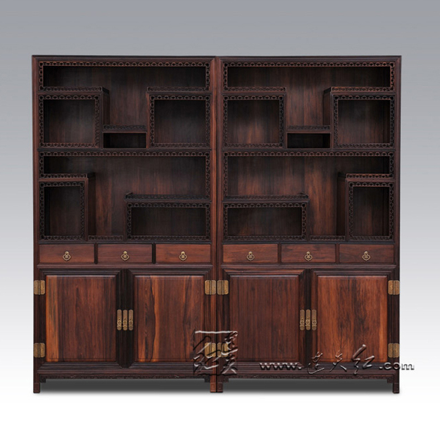 Classic Solid Wooden Bookcase Cabinet With Lockers Mahogany Cupboard  Chinese Antique Display Stand Rack Furniture Rosewood