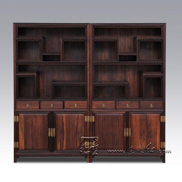 klassieke massief houten boekenkast met kluisjes mahonie kast chinese antieke display stand rek meubels palissander sark