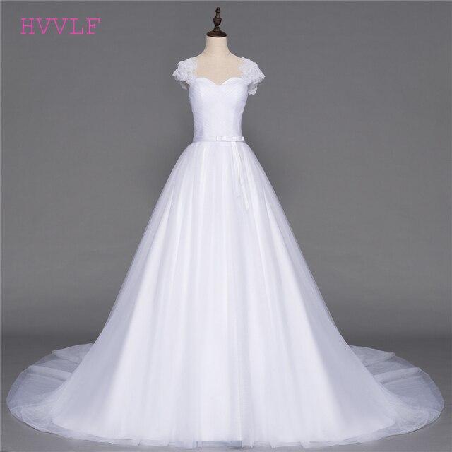 Plus Size Vestido De Noiva 2018 Wedding Dresses A-line Cap Sleeves Tulle  Flowers Sash 79185971c91e