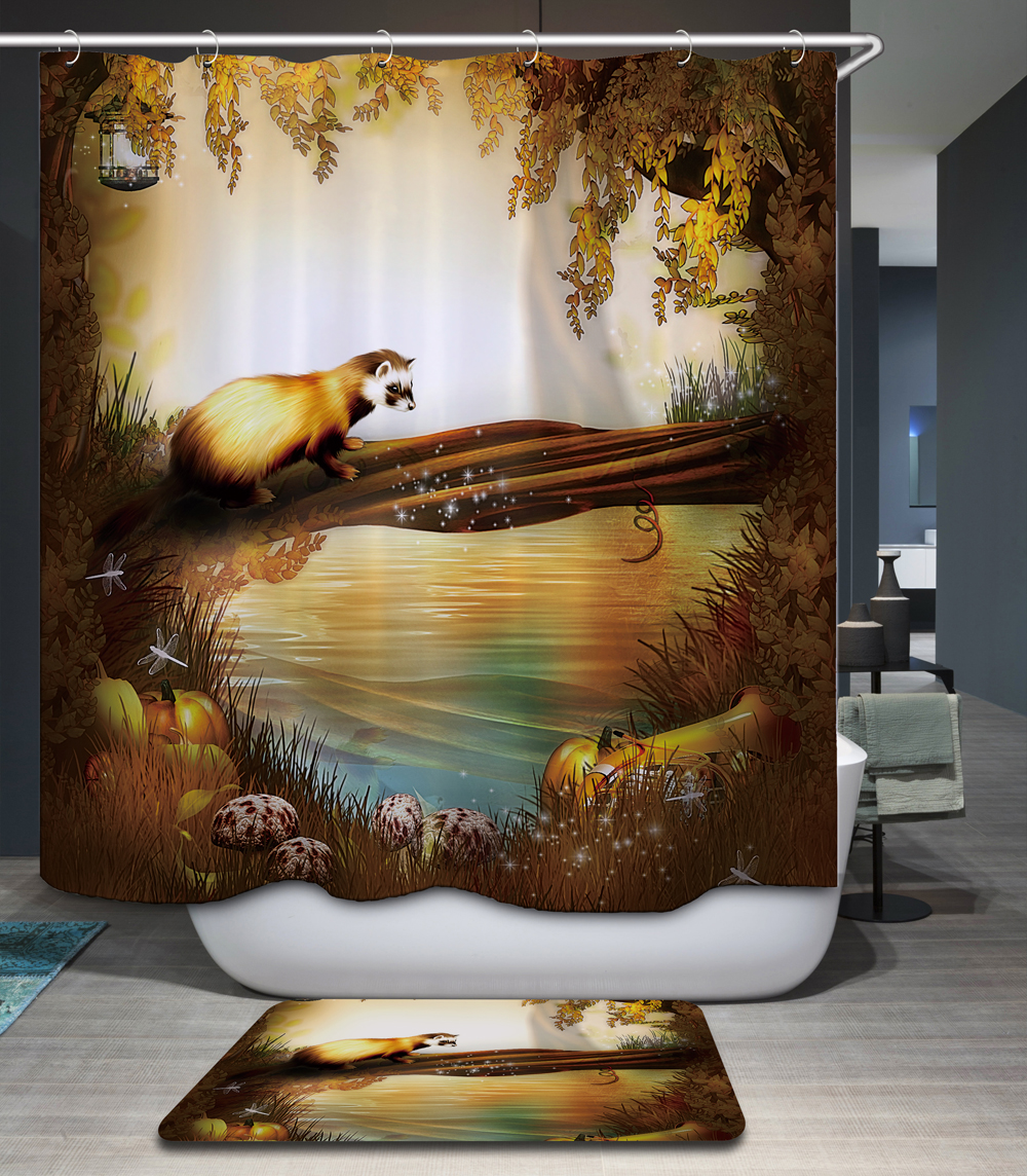 cartoon Fairy <font><b>Kids</b></font> Bath curtain 12 Hooks Polyester Fabric Waterproof Shower Curtain Sea Animal 3D Printing Chic Bathroom Decor