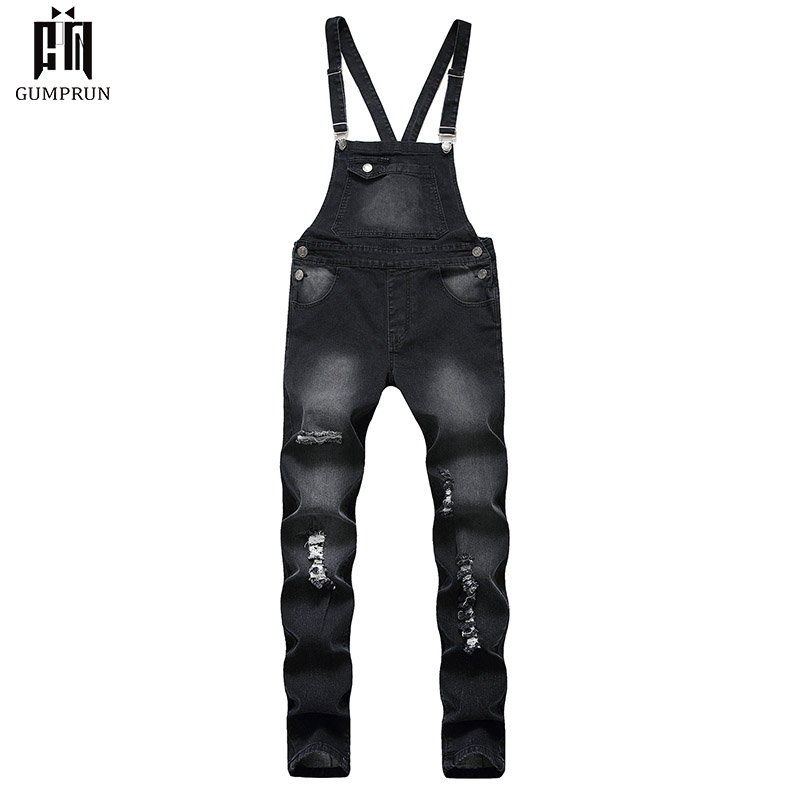 2019New Hip Hop Fashion Men's Ripped Jeans Jumpsuits Hi Street Distressed Denim Bib Overalls For Man Suspender Pants Size S-XXXL