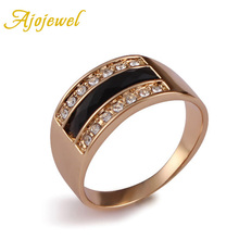 Free Shipping #6-9 Fashion 18K Gold Plated Black And Ring