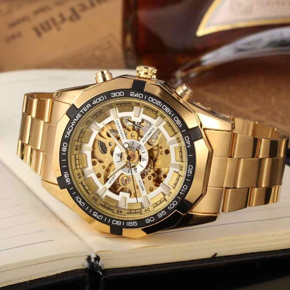 Livraison directe Forsining automatique montre de mode en acier inoxydable bracelet squelette montre livraison gratuite avec boîte-cadeau relogio