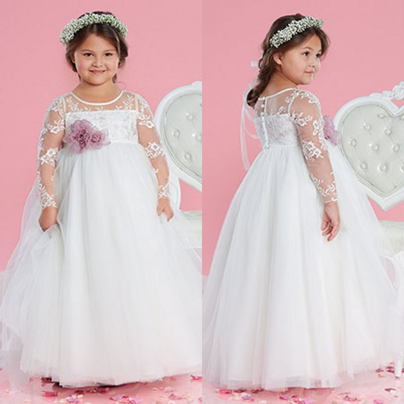 Cheap White   Flower     Girls     Dresses   For Wedding Gowns Long Sleeve Lace   Girl   Birthday Party   Dress   Zipper Back Pageant   Dress