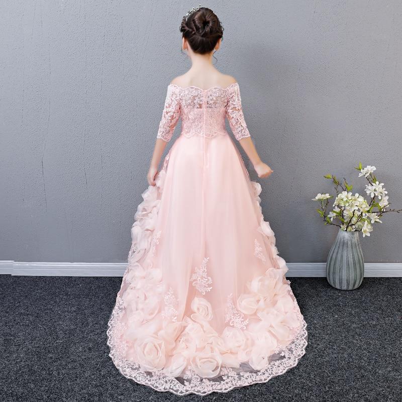 2018 autumn new baby girls elegant long train lace princess dress children kids long tail evening gown party wedding christmas