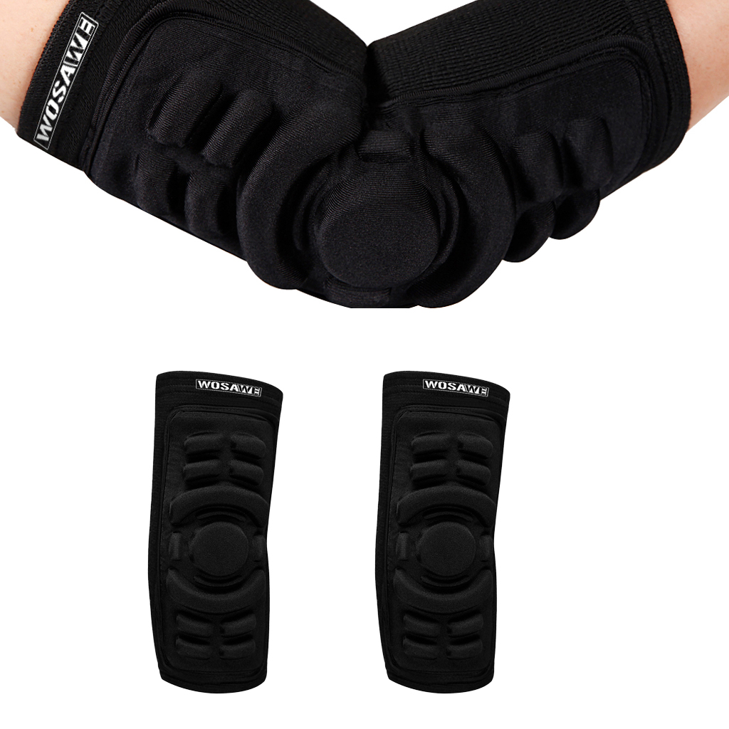 1Pairs Unisex Sports Arm Sleeve Elbow Protector Snowboarding Skating Elbow Brace Biking Minibike Riding Black