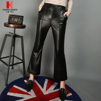 Leather Pants For Women Black Leather Look Trousers Lederhosen Motorcycle Trousers Custom Female Pants Tight Leather Pants