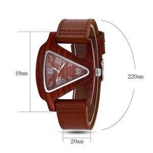 Image 5 - ALK femmes montre en bois dames montres à Quartz femme mâle bambou bracelet en cuir montre bracelet unisexe Triangle bois horloge Dropshipping