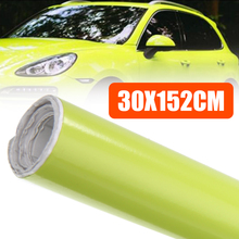 цена на Fashion Auto Car-styling Foil Film Wrap Neon Yellow Car Vinyl Roll Sticker Decal Bubble Free 30x152cm
