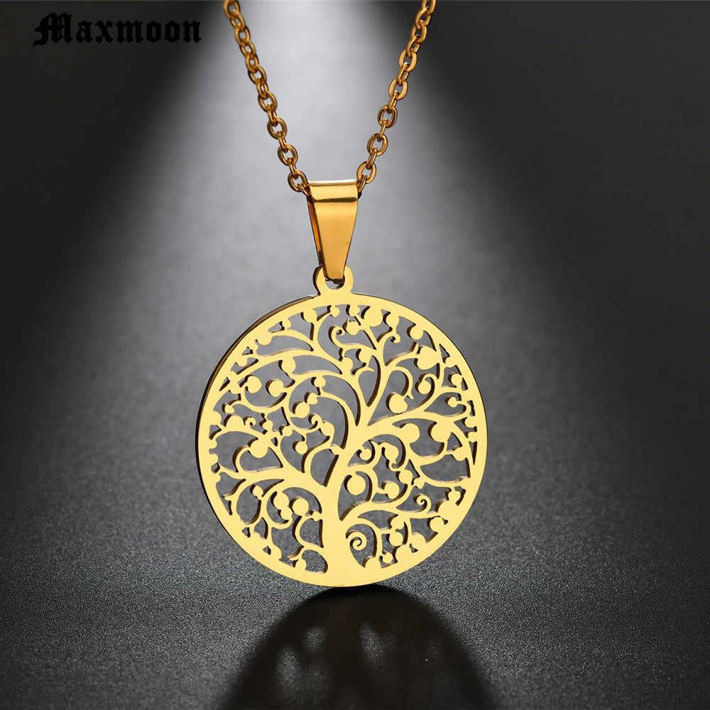 Maxmoon ต้นไม้ขนาดใหญ่สร้อยคอจี้เงินสแตนเลสสร้อยคอและจี้สำหรับผู้หญิงที่ดีที่สุดของขวัญ