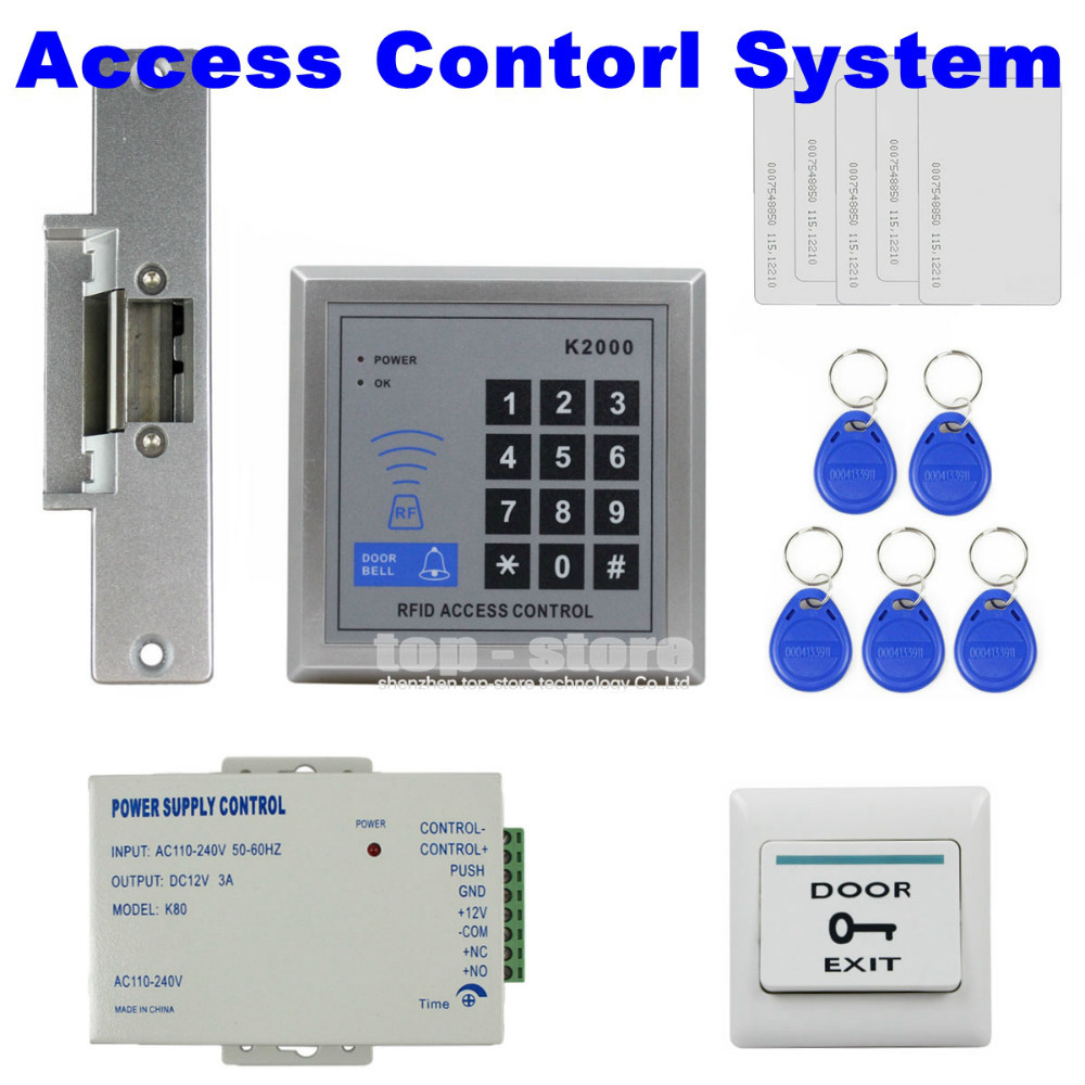 DIYSECUR Door Bell Button RFID 125KHz Reader Access Control System Security Kit + Electric Strike Door Lock + Power Supply K2000 remote control rfid reader access control system full kit set electric strike door lock power supply k2000