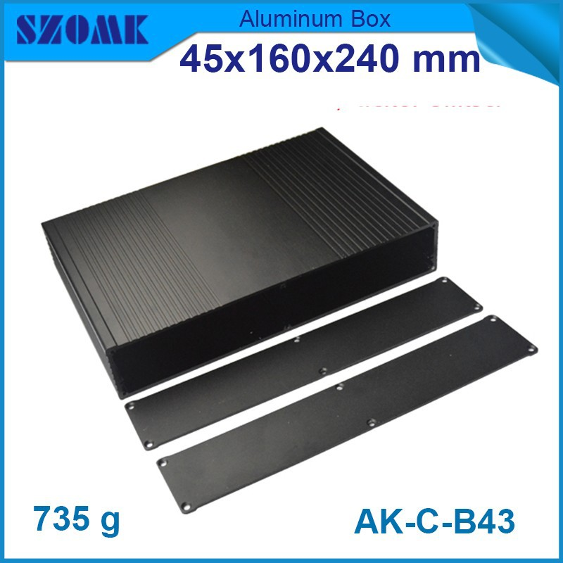 4 pcs/lot new arrival buy direct from china Black color aluminium enclosure anodizing housing 45(H)x160(W)x240(L) mm eletronico new arrival gof p01 248 4x81 5x209 mm wxh d anodizing aluminum enclosure stereo case