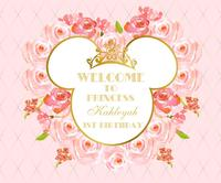 Custom Minnie Mouse Floral Royal Pink Gold Crown background Computer print birthday photocall backdrop