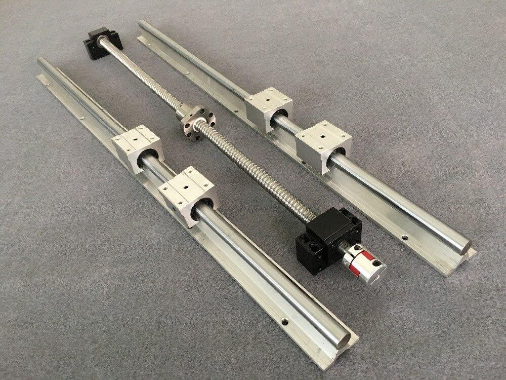 SFU1605 Ball screw BK12 BF12 Nut Housing Coupling 2pcs SBR16 linear rail 200mm 300mm 500mm 600mm