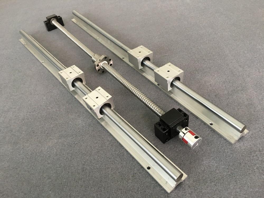 SFU1605 bola tornillo + BK12 BF12 + tuerca de acoplamiento + + 2 unids SBR16 carril lineal de 200mm 300mm 500mm 600mm 1000mm + 4 unids SBR16UU