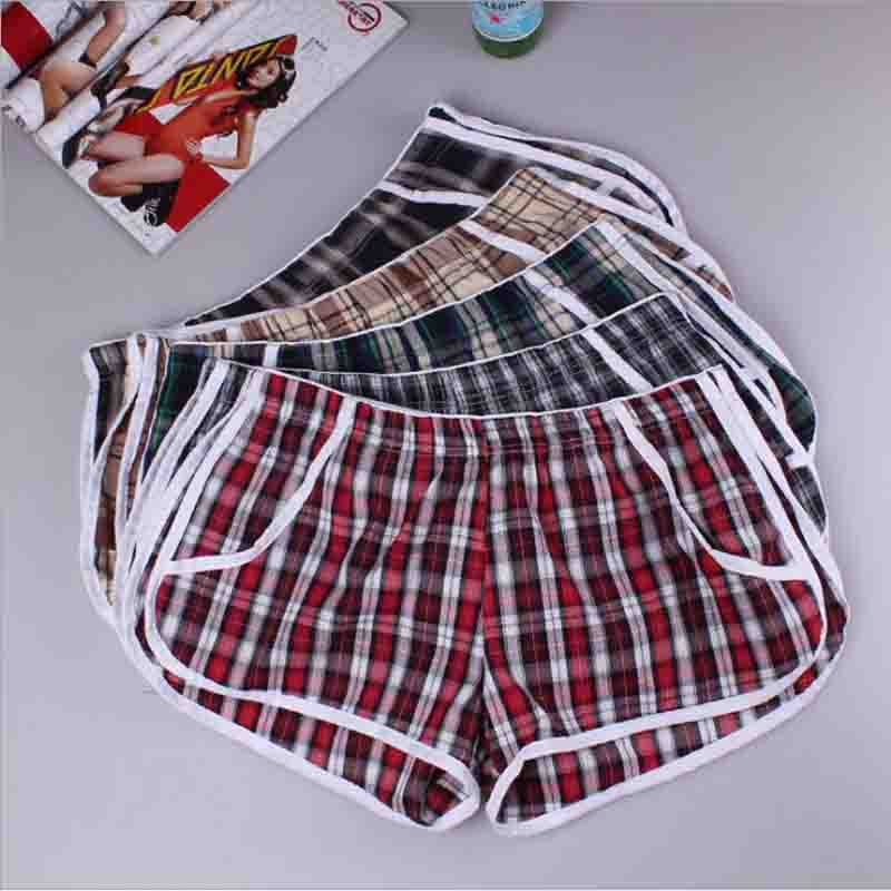 2019 Men's Elastic Soft Cotton Breathable Relaxed Shorts Fashionable Simple Plaid Household Shorts Out Beach Casual Shorts