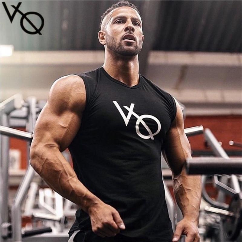 2018 Bodybuilding VQ Brand Tank Top Men Stringer Tank Top Fitness Singlet Sleeveless shirt Workout Man Undershirt Clothing