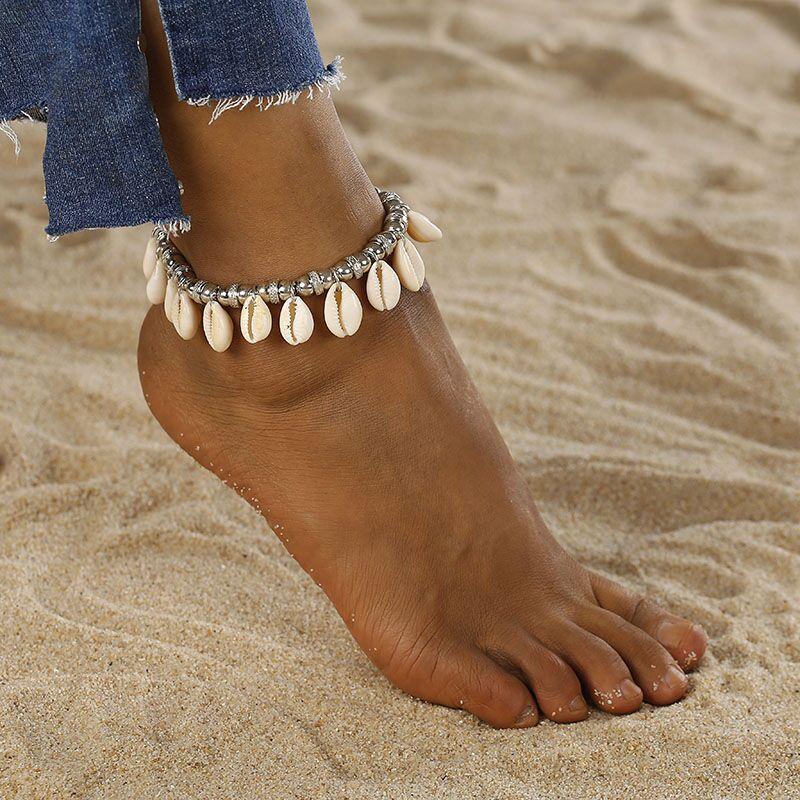 New Women's Bohemian Anklet Women's Fashion Wax Skewers Foot Fashion Retro Shell Conch Anklet Bracelet Beach Jewelry